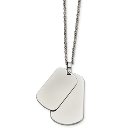 Stainless Steel Polished Double Dog Tag Necklace