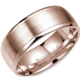 Crown Ring Rose Gold Brushed Centre Band (8mm)