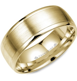 Crown Ring Yellow Gold Brushed Centre Band (8mm)