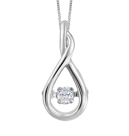 Fire and Ice 10K White Gold (0.045tw) Dancing Canadian Diamond Pendant