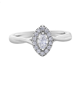 10K White Gold (0.20ct) Marquise Shaped Diamond Halo Engagement Ring
