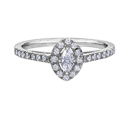 10K White Gold (0.33ct) Marquise Shaped Diamond Halo Engagement Ring