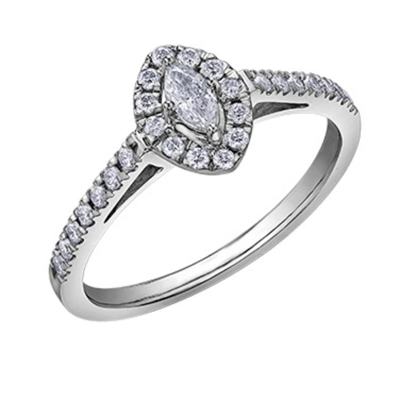 10K White Gold (0.33ct) Marquise Shaped Diamond Halo Engagement Ring