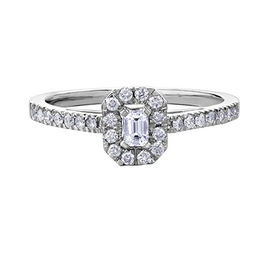 White Gold Diamond Emerald Shaped Halo Ring (0.33ct)
