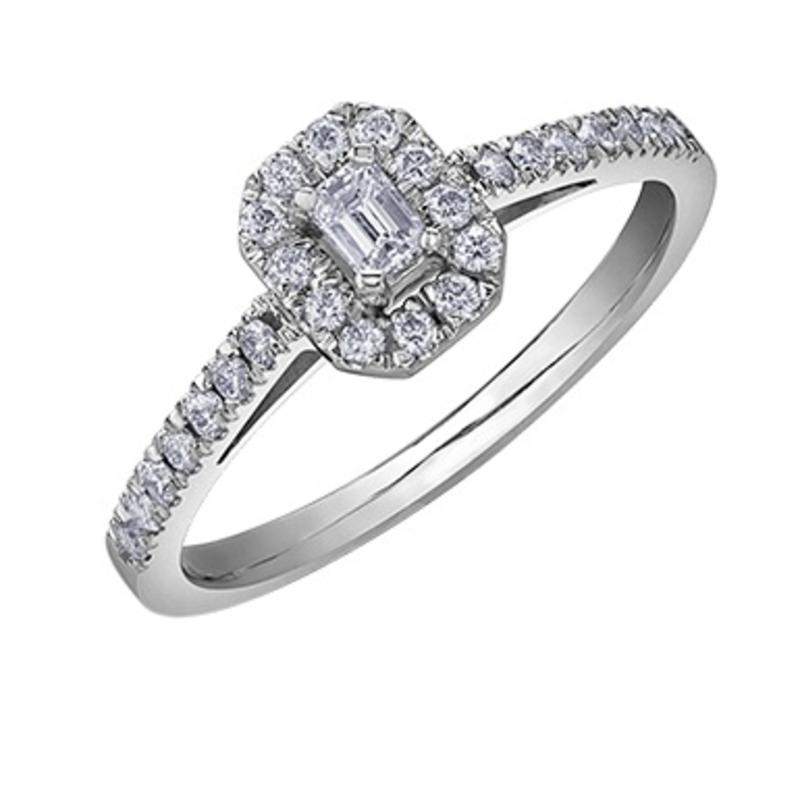 10K White Gold (0.33ct) Emerald Shaped Diamond Halo Engagement Ring