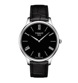 Tissot Tissot Tradition 5.5 Mens Silver Tone Black Dial and Black Leather Strap Watch