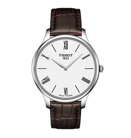 Tissot Tissot Tradition Mens Silver Tone White Dial and Brown Leather Strap Watch