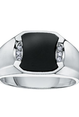 10K White Gold Black Onyx and Diamond Men's Ring