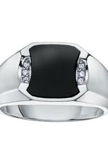 10K White Gold Onyx and Diamonds Men's Ring