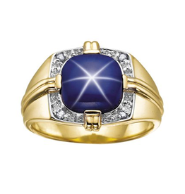 10K Yellow Gold Synthetic Star Sapphire and Diamonds Men's Ring