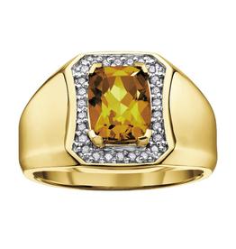 10K Yellow Gold Beer Quartz and Diamonds Men's Ring