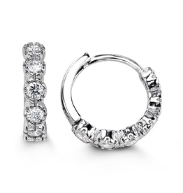Sterling Silver Bezel Set CZ Huggie Hoop Earrings