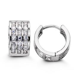 Sterling Silver Three Row CZ Huggies Hoop Earrings 12mm