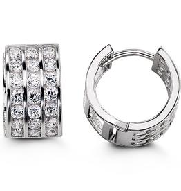 Sterling Silver Three Row CZ Huggie Hoop Earrings 13mm