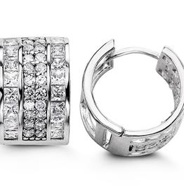 Sterling Silver Round and Princess Cut CZ Huggie Hoop Earrings 15mm