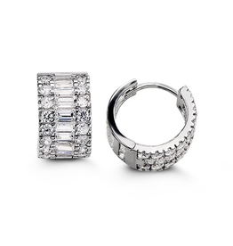 Sterling Silver Round and Baguette CZ Huggie Earrings 14mm
