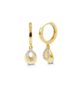 10K Yellow Gold CZ Teardrop Dangle Earrings