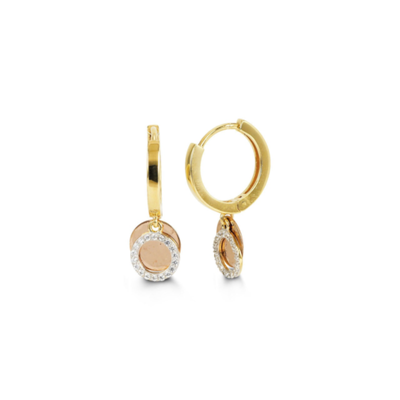 10K Two Tone Yellow and Rose Gold CZ Dangle Earrings
