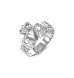 10K White Gold Claddagh Men's Ring
