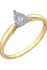 10K Yellow Gold (0.08ct) Pear Shaped Clustered Diamond Promise Ring