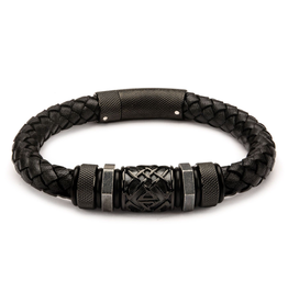 Inox Black Braided Leather Bracelet with Stainless Steel Black Plated Beads