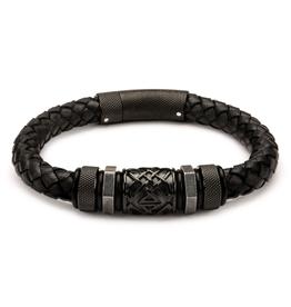 Inox Black Braided Leather with Steel Black Plated Beads Bracelet