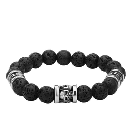 Inox Black Lava Beaded Bracelet with Stainless Steel Skulls