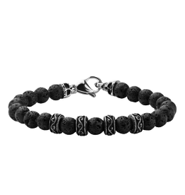 Inox Black Lava Beaded Bracelet with Stainless Steels Skulls