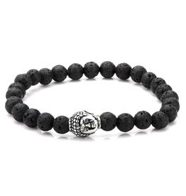 Inox Black Lava Bead Buddha Bracelet