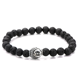 Inox Black Lava Satin Finish Beaded Bracelet with Stainless Steel Buddha