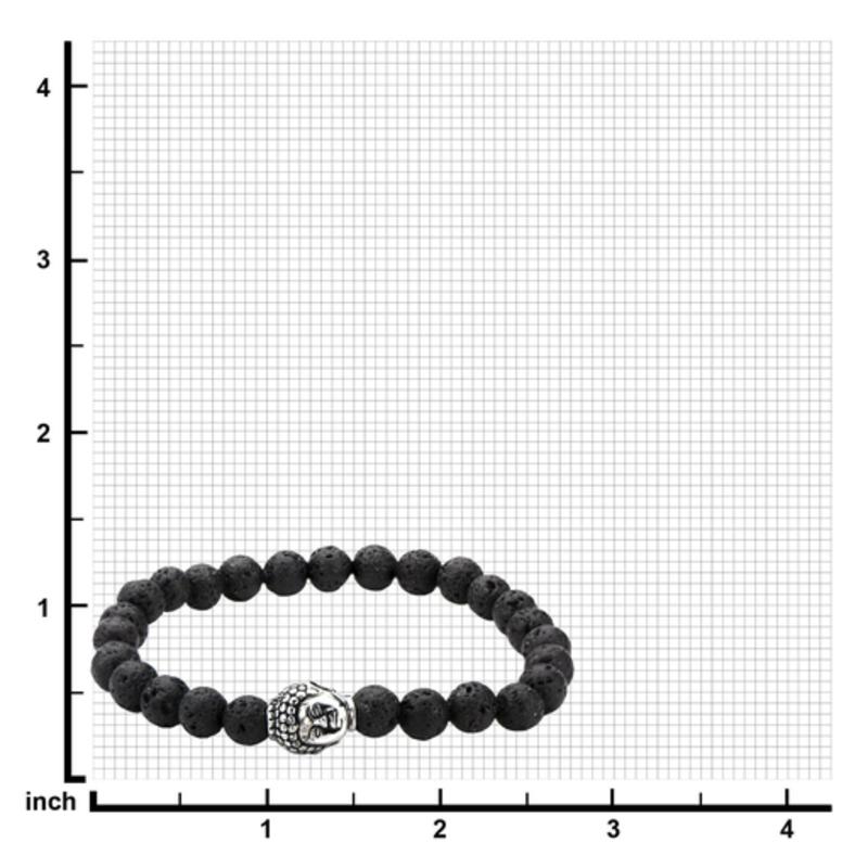 Inox Black Lava Satin Finish Beaded Bracelet with Stainless Steel Buddha