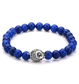 Inox Blue Lapis Beaded Bracelet with Stainless Steel Buddha
