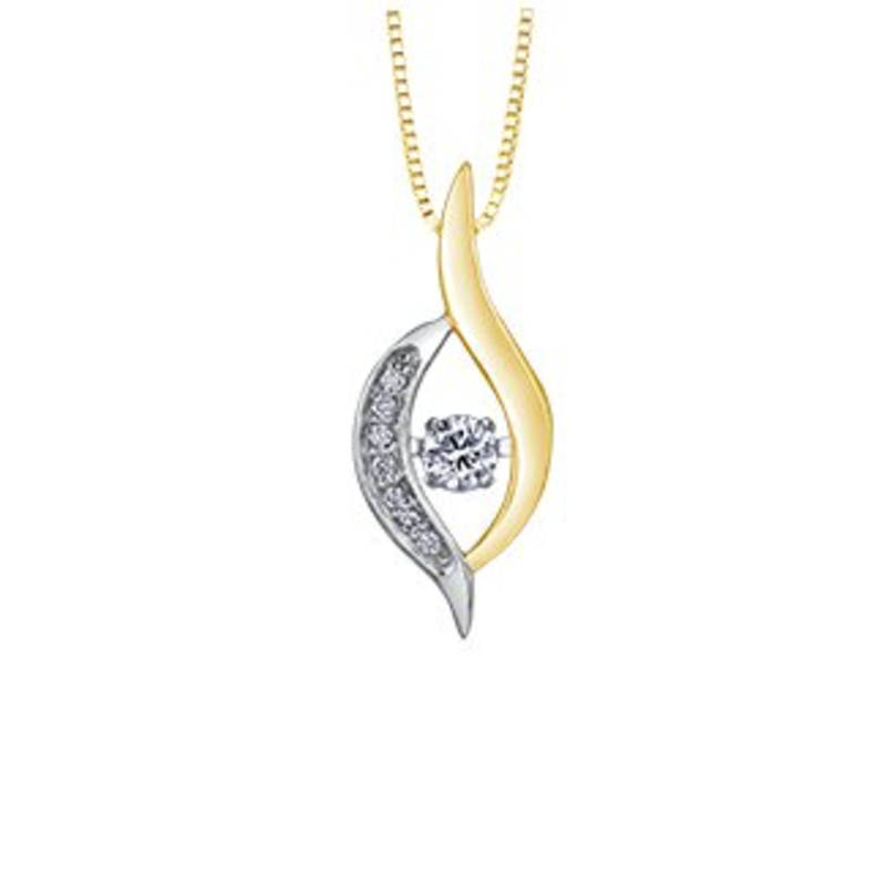10K Yellow and White Gold (0.10ct) Canadian Dancing Diamond Pendant