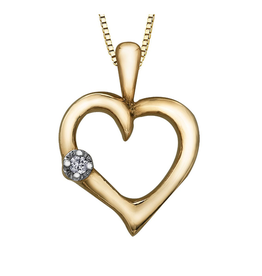 Forever Jewellery Yellow Gold (0.015cttw) Diamond Heart Pendant