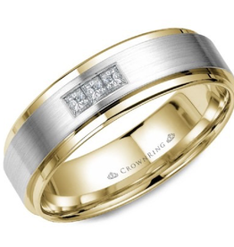 Crown Ring Yellow and Brushed White Gold Centre (0.15ct) Diamond Band
