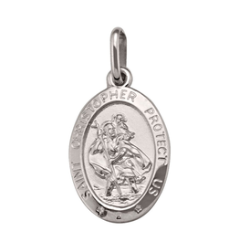 White Gold St. Christopher Medallion (Large)