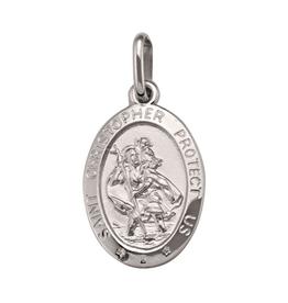 White Gold St. Christopher Medallion (Large)