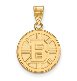 NHL Licensed Boston Bruins Yellow Gold Pendant (Medium)