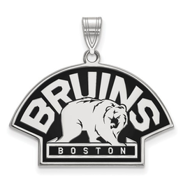 NHL Licensed Boston Bruins Sterling Silver Enamel Pendant