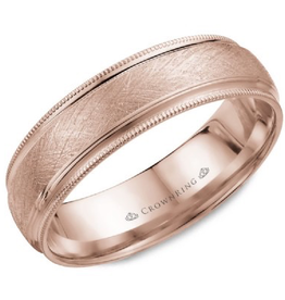Crown Ring Textured Center and Milgrain Edge 6mm Rose Gold Band