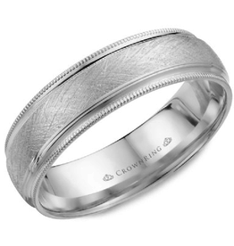 Crown Ring Textured Center and Milgrain Edge 6mm White Gold Band