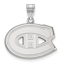 NHL Licensed Montreal Canadiens Pendant (18mm) 10K White Gold