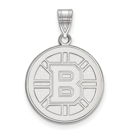 NHL Licensed Boston Bruins Pendant (18mm)10K White Gold
