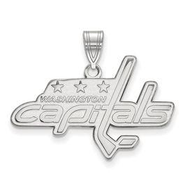 NHL Licensed Washigton Capitals Pendant (30mm)10K White Gold