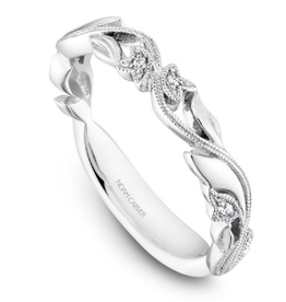 Stackable Diamond Band White Gold Climbing Leaves