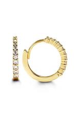 Yellow Gold CZ Huggie Earrings (13mm