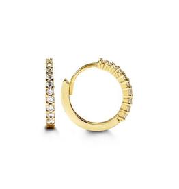 Yellow Gold CZ Huggie Earrings (13mm)