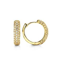 Yellow Gold Pavee Set CZ Huggie Earrings