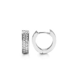 White Gold Pavee Set CZ Huggie Earrings