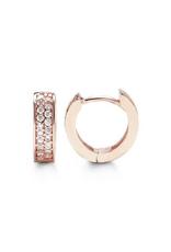 Rose Gold Pavee Set CZ Huggie Earrings